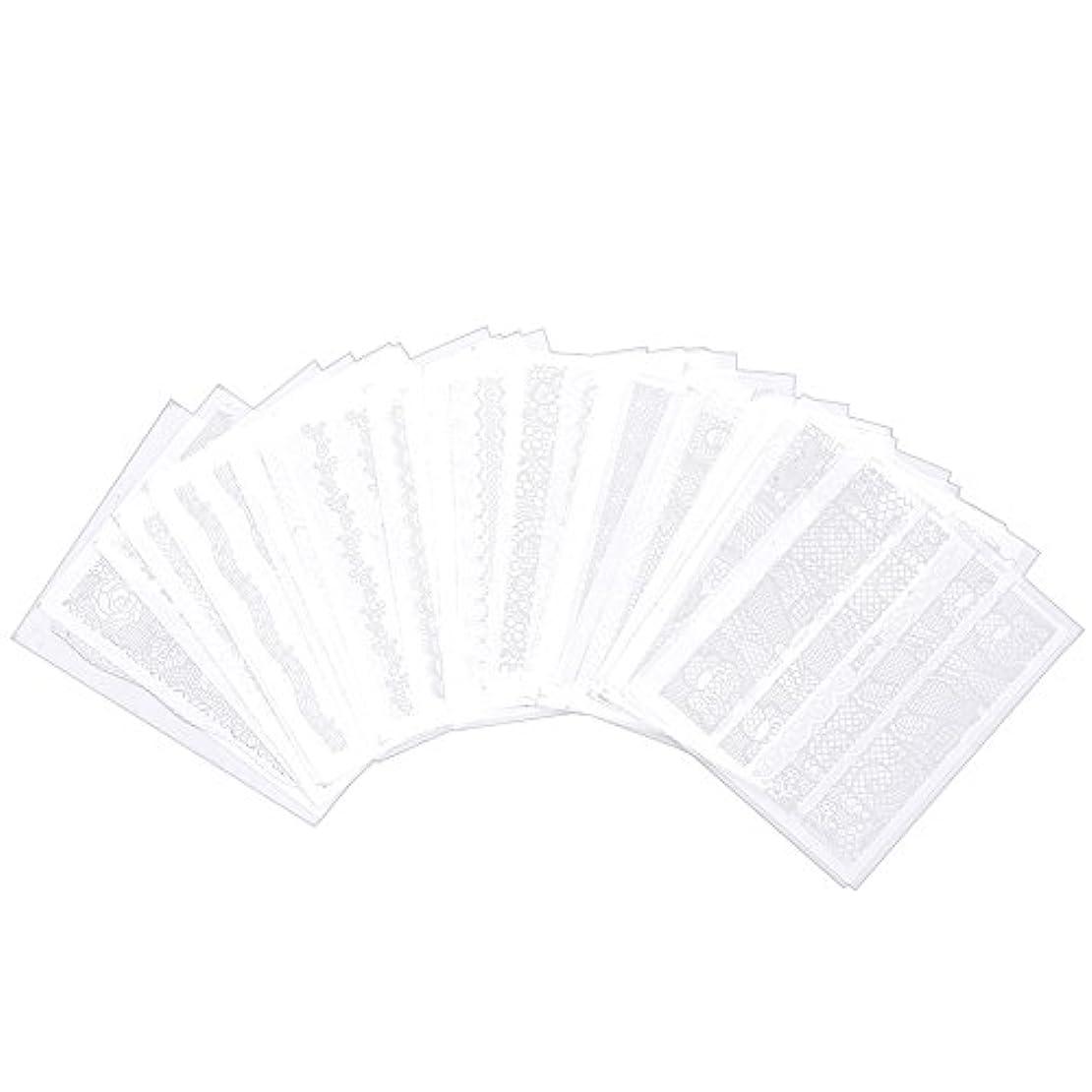 ハイライトしないでください粘液30枚レースパターンステッカーネイルアートの装飾(白), 30枚の接着剤のレースの釘の混合されたパターンのステッカーの釘のマニキュア用具の装飾の白