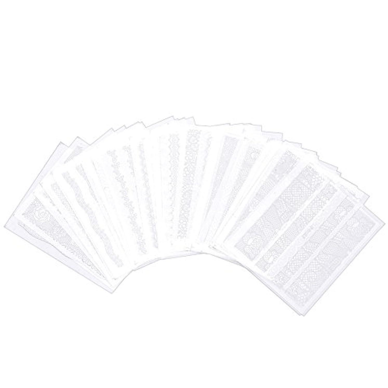ラインホース素人30枚レースパターンステッカーネイルアートの装飾(白), 30枚の接着剤のレースの釘の混合されたパターンのステッカーの釘のマニキュア用具の装飾の白