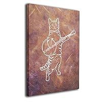 バンジョー 猫 壁アート モダン絵画 キャンバス絵画 部屋飾り お祝いやプレゼントに 絵画 軽くて取り付けやすい (30x40cm)