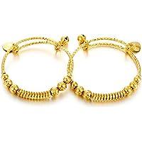Ethlyn 2pcs/lot Unisex Gold Plated Bangle for Girls/Baby/Kids Charm Gypsophila Bracelet Bells Heart Jewelry