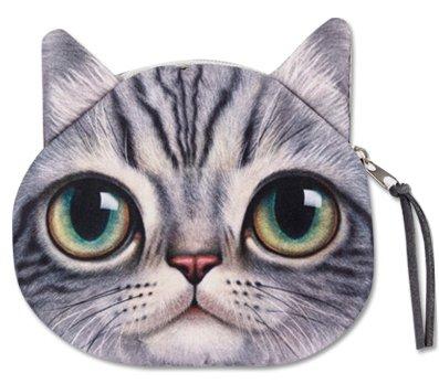 【ミニポーチ】 pouch 猫フェイスポーチ 8Type 小銭入れ ミニファスナーポーチ (c)