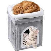 キャットハウス クッション 多頭用 ペット用ソファー 2階 猫ベッド ボックスハウス 寝床 ペットベッド ソフトケージ 冬用 暖かい ぐっすり眠れる 冬寒さ対策 ふわふわ (グレー A)