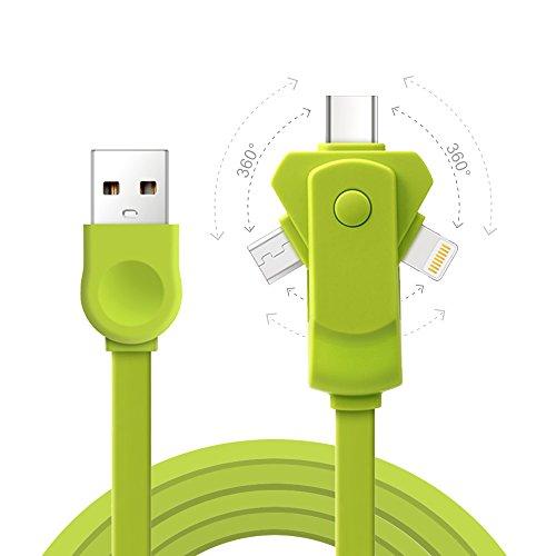 HOISTAC iphone 充電ケーブル type-c Apple Micro USBケーブル iPhone 5/6/7/iPad対応 マルチタイプ急速充電可 (緑)