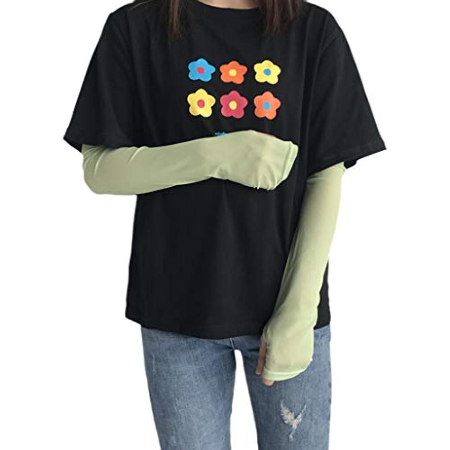 ニックネームチキンくしゃみManyao 女性の夏の冷却アームスリーブカバー甘い固体キャンディーカラー屋外サイクリング日焼け防止フィンガーレス手袋付き手袋