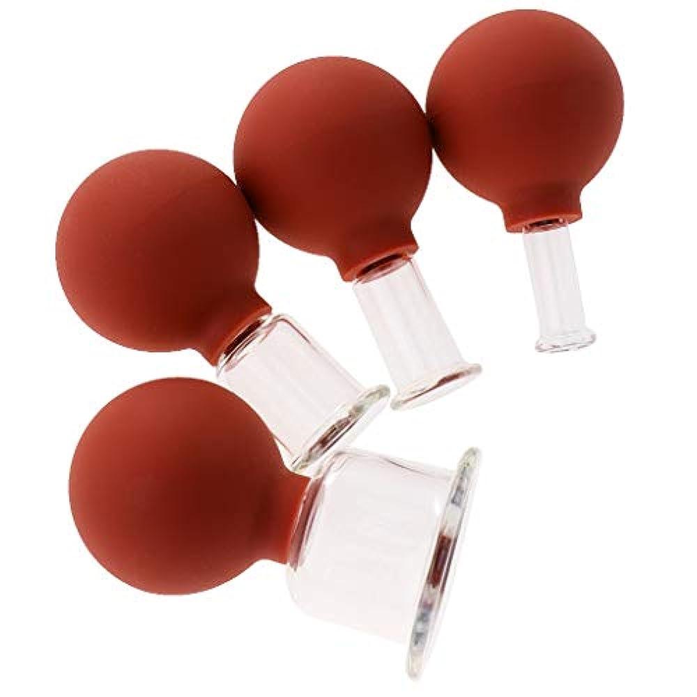 トリム鋭く引き算D DOLITY マッサージカップ 吸い玉 カッピングセット ガラスカッピング 真空 男女兼用 ギフト 4個 全3色 - 赤茶色
