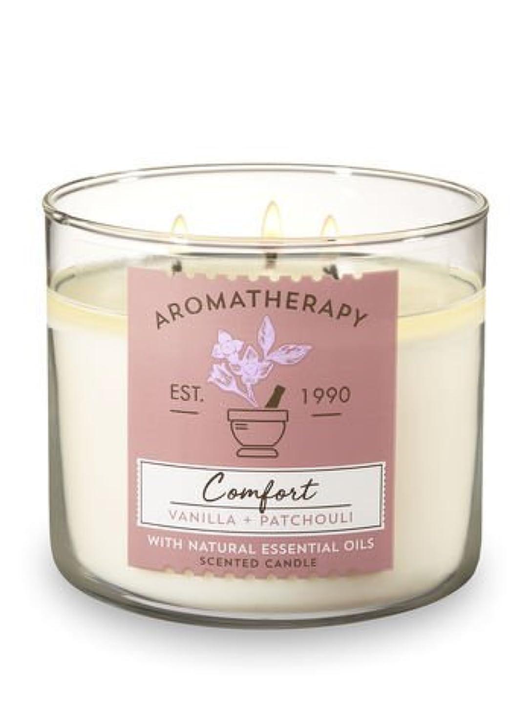 起こる暗記するどんよりした【Bath&Body Works/バス&ボディワークス】 アロマキャンドル アロマセラピー コンフォート バニラパチョリ Aromatherapy 3-Wick Scented Candle Comfort Vanill...