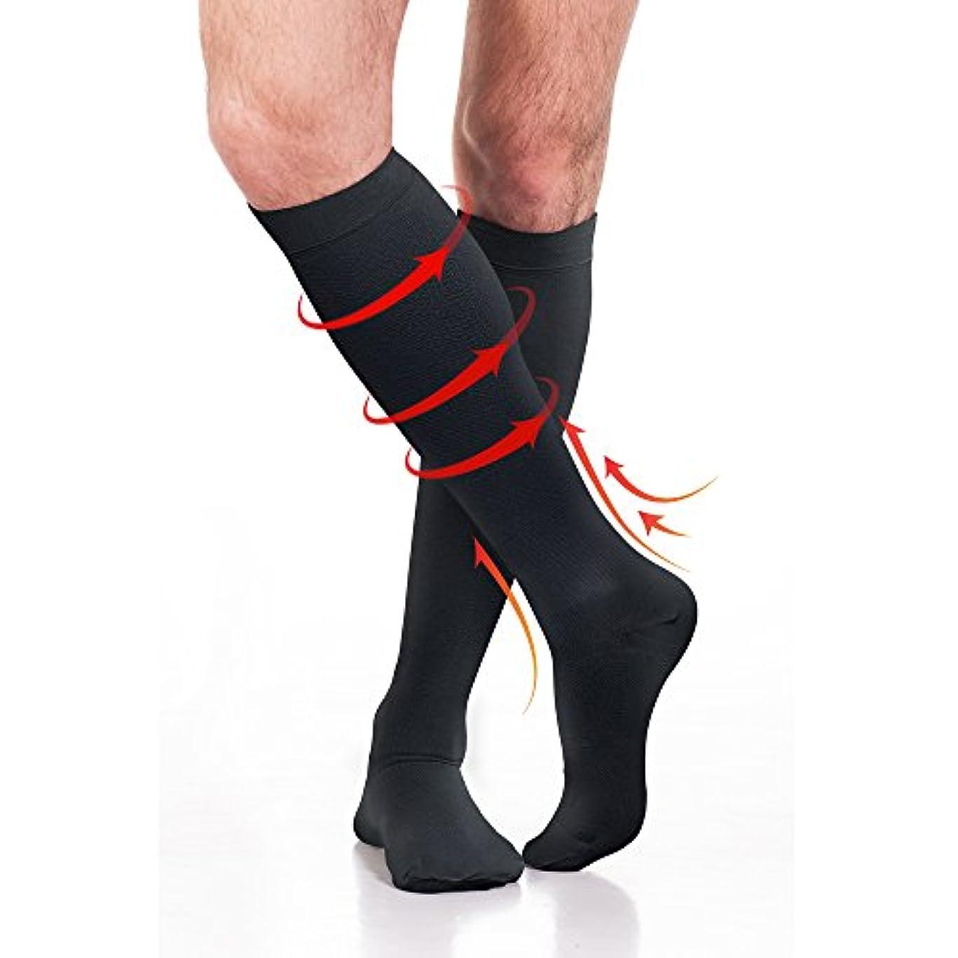 ロードされたステープル定常Fytto (フィトー)1080スタイル快適圧力着圧ソックス 靴下 ビジネスソックス ブラック 男女兼用 15-20mmHg (20~27hPa) ソックス サポート靴下 M