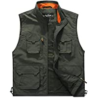 Memoryee Men's Outdoor Mesh Vest Fishing Photography Multi-Pockets Vest Jacket