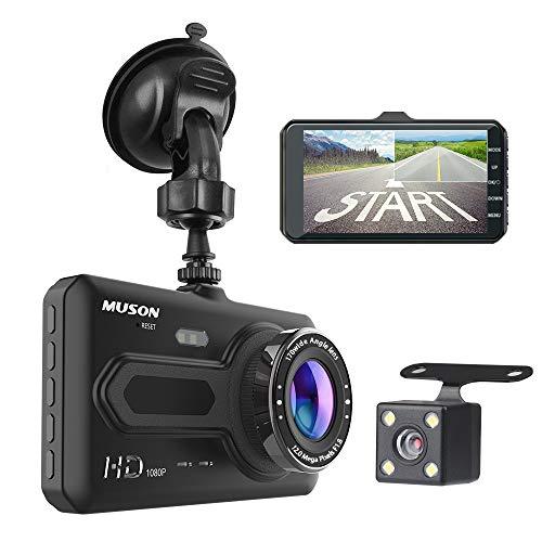 デュアルドライブレコーダー MUSON(ムソン) ドライブレコーダー 前後カメラ 1080PフルHD 1200万画素 170度広角 4.0インチIPS デュアルレンズ [1年保証] G-sensor/駐車監視/衝撃録画/動体検知 WDR LED信号機対応 車載カメラ 防犯カメラ リアカメラ付ドライブレコーダー ドラレコ NOTE4