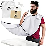 Best Beard Bib for Shaving - The Smart Way to Shave - Beard Trimming Apron 122x81cm - Perfect Grooming Gift or Mens Birthday Gift - Includes Shaping Comb, Bag, and Grooming E-book (White) by Mobi Lock