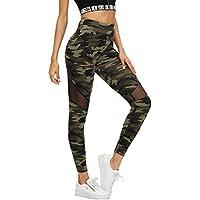SweatyRocks Women's Stretchy Skinny Sheer Mesh Insert Workout Leggings Yoga Tights