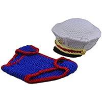 Panlom 新生児幼児服の写真の小道具手作りの幼児海軍海洋衣装
