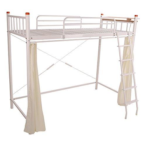 UNE BONNE(ウネボネ) はしご・カーテン仕切り・コンセント付き 省スペース ロフトベッド 一人暮らし用 二段ベッド シングルベッドフレーム WHITE