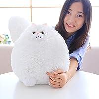 HuaQingPiJu-JP ファットホワイト猫ぬいぐるみ巨大な猫のぬいぐるみ贈り物(ホワイト、50cm)