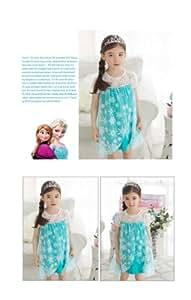 アナと雪の女王 Frozen エルサ Elsa 女王 風 ドレス プリンセスドレス 子供用コスプレ衣装 (130cm, ブルー)