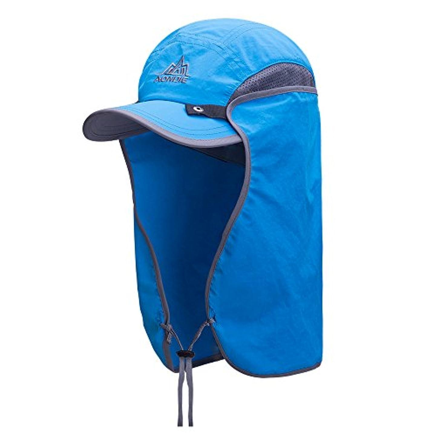 自我伝える告発AONIJIE 帽子 日焼け防止 紫外線対策 UVカット UPF50+ 通気 速乾 汗吸収 首ガード 顎ひも 登山 釣り ゴルフ