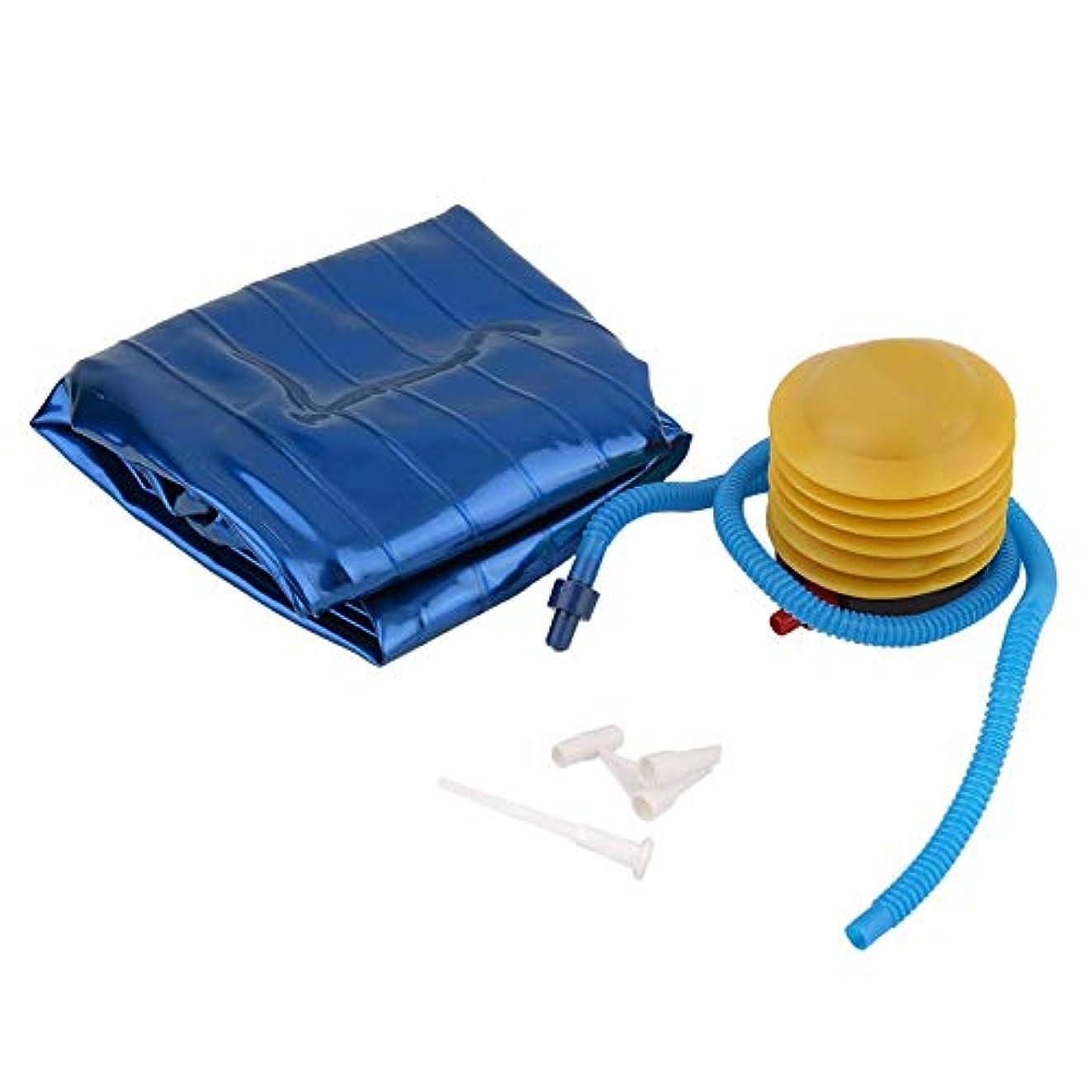 芽エスニック介入するフィットネスピラティスヨガボールユーティリティウェイトトレーニングの柔軟性バランススポーツ厚みのあるPVC滑り止めポンププラグ付きフィットネス用 - 青