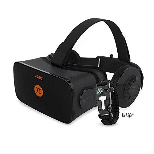 PIMAX 4K VR ゴーグル 3Dヘッドセット 3Dメガネ ヘッドマウントディスプレイ 3840*2160 解像度 非球面光学レンズ 加速度センサー 磁力計 距離センサー 光センサー デュアル ジャイロスコープ 超3D映像効果 サバイバルブレスレット付き
