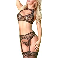 Ausexy Sexy Lace Wire-Free G-string Lingerie See Though Hollow Out Bodystocking Sleepwear Underwear Babydoll Nightwear