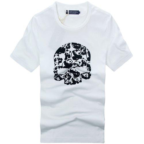 (ハイドロゲン)HYDROGEN メンズ Tシャツ 半袖 スカル panda 並行輸入品 (XL, ホワイト)