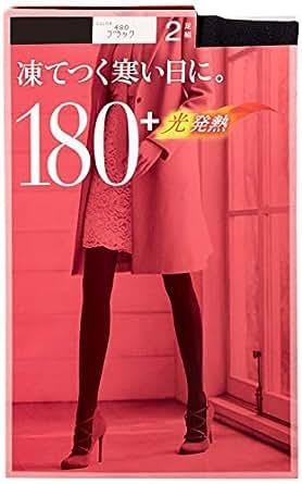 [アツギ] タイツ 180D 【日本製】 アツギ タイツ (Atsugi Tights) 180デニール 2足組 アツギタイツ レディース ブラック 日本 L~LL (日本サイズ2L相当)