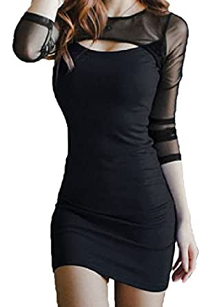 【Smile LaLa】 レディース ワンピース ドレス ミニ タイト 胸開き セクシー シースルー シンプル 長袖 ブラック ブルー (M, ブラック)