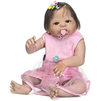 Reborn Baby解剖学的に正しいガールズフルボディシリコン人形22インチLifelike新生児キッズBath Toysマグネットおしゃぶりファイバーヘア