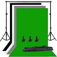 Abeststudio Photo Studio Adjustable Backdrop Support Stand Kit 1.6 x 3m Black/White/Green/Gray Backdrop Screen + 6.5ft x...