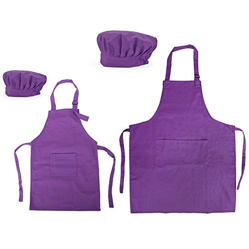 Opromo 多色 子供用 コットンキャンバス エプロン+帽子 ポケット付き(1セットの価格) - パープル 親子ペア - M