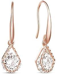 SHEGRACE Wedding Earrings for Bridesmaids Rose Gold Plated Oval Dangle Earring Drop Earrings