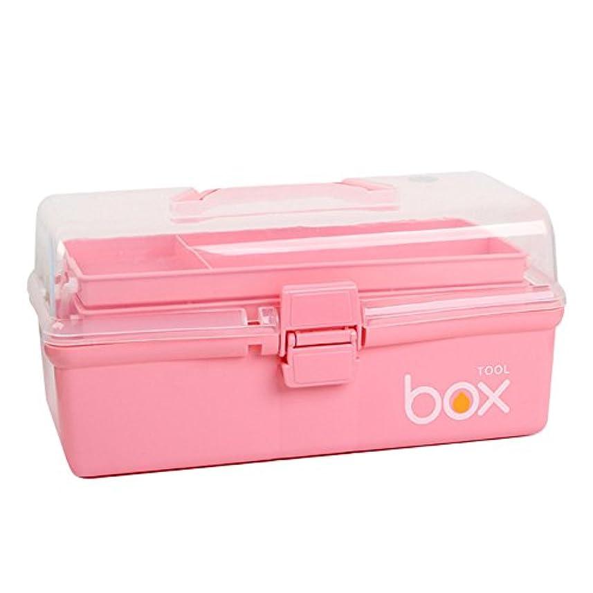 応急処置キット 大型ポータブル応急処置ボックス家庭用薬収納容器多機能収納ボックス用多くの機会 ストレージ救急用品 (Color : Pink)