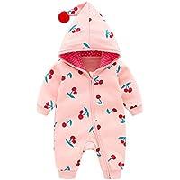 Fairy Baby Newborn Unisex Boy Girl Outfit Romper Cherry Zip Jumpsuit Hood Outwear