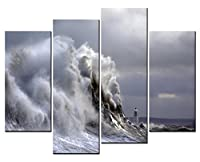 SmartWallArt–Ocean Landscape絵画壁アートThe Huge Wave Close to the Lighthouse in the Storm 4パネル画像の印刷キャンバスの現代ホーム装飾
