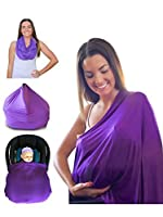 Nursing Cover Premium Quality Fashionable Breastfeeding Covers 100% Cotton Multi Colors - Great Gift Ideas Best Baby Shower Gifts - Bonus FREE Baby Bib from Mom & Bebe by Mom & Bebe