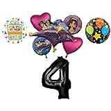 Mayflower Products アラジン 4歳の誕生日パーティー用品 プリンセス ジャスミン バルーンブーケ デコレーション - ブラックナンバー4