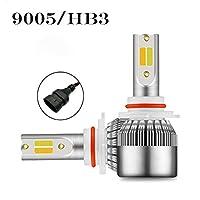 ヘッドライト LED ヘッドライト 車検対応 ランプ ハイ・ロービーム 9005/9006/H1/H3 32W 3600Lm 防水 高輝度 ヘッドライト 2カラー COBチップ 6000Kホワイト 3000Kイエロー 2本 LEDバルブ (Color : 9005/HB3)