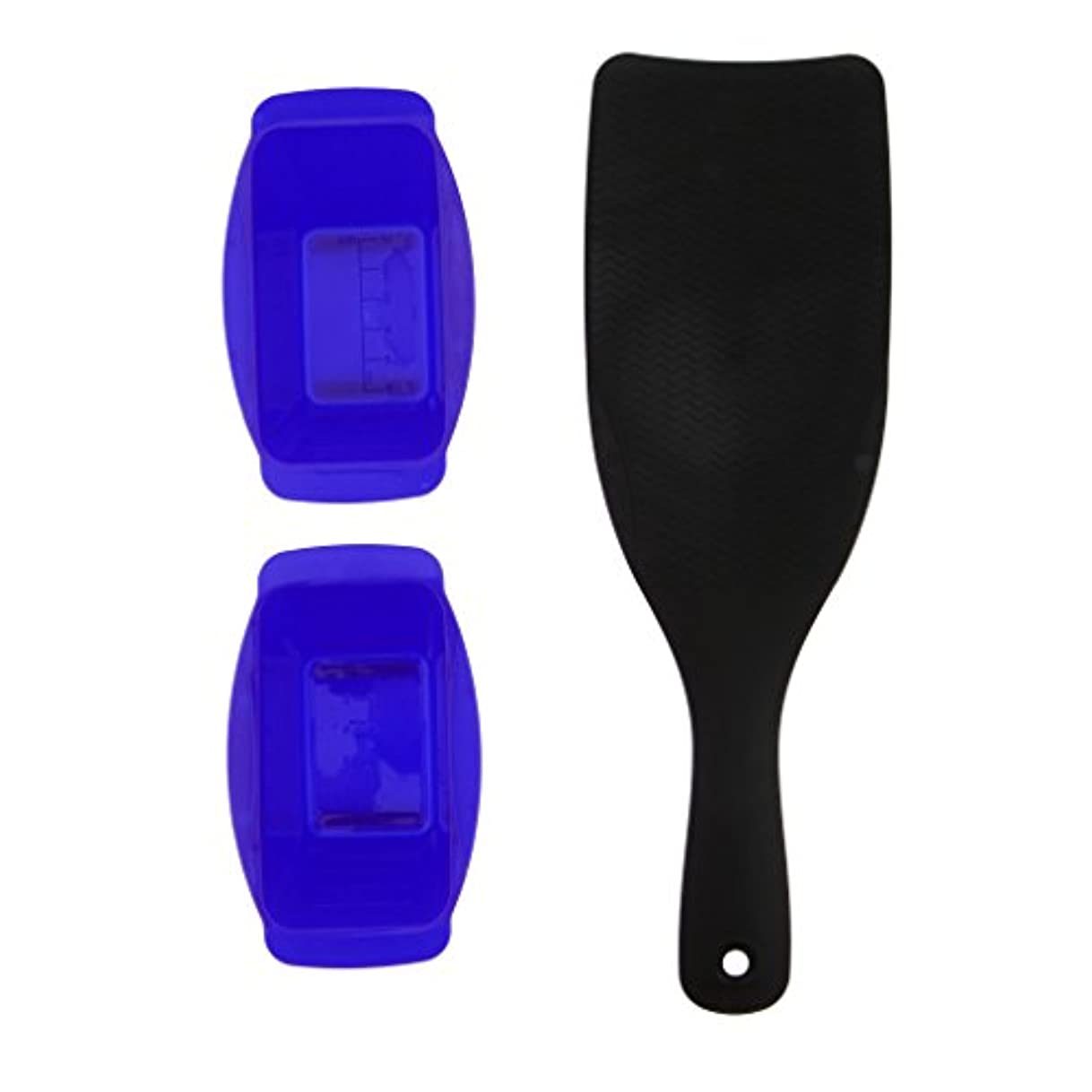 お風呂を持っているレスリングピースプロフェッショナル理髪ピックカラーボードヘアダイプレートティントダイボウルキット - 青