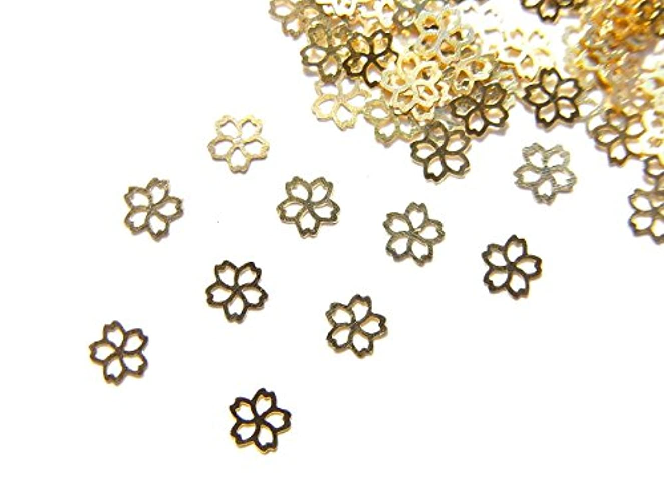カード磁器抵抗する【jewel】ug27 春ネイル 薄型ゴールド メタルパーツ Sサイズ 桜 サクラB 10個入り ネイルアートパーツ レジンパーツ