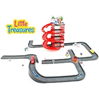 Little Treasures my first city駐車場Toy Play Set withロボットCars and Lots of City street道路with 4床の駐車場 – Great Gift