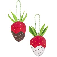Sweeter Than Chocolate Strawberries 3 Inch Plush Keychains Assorted Set of 2
