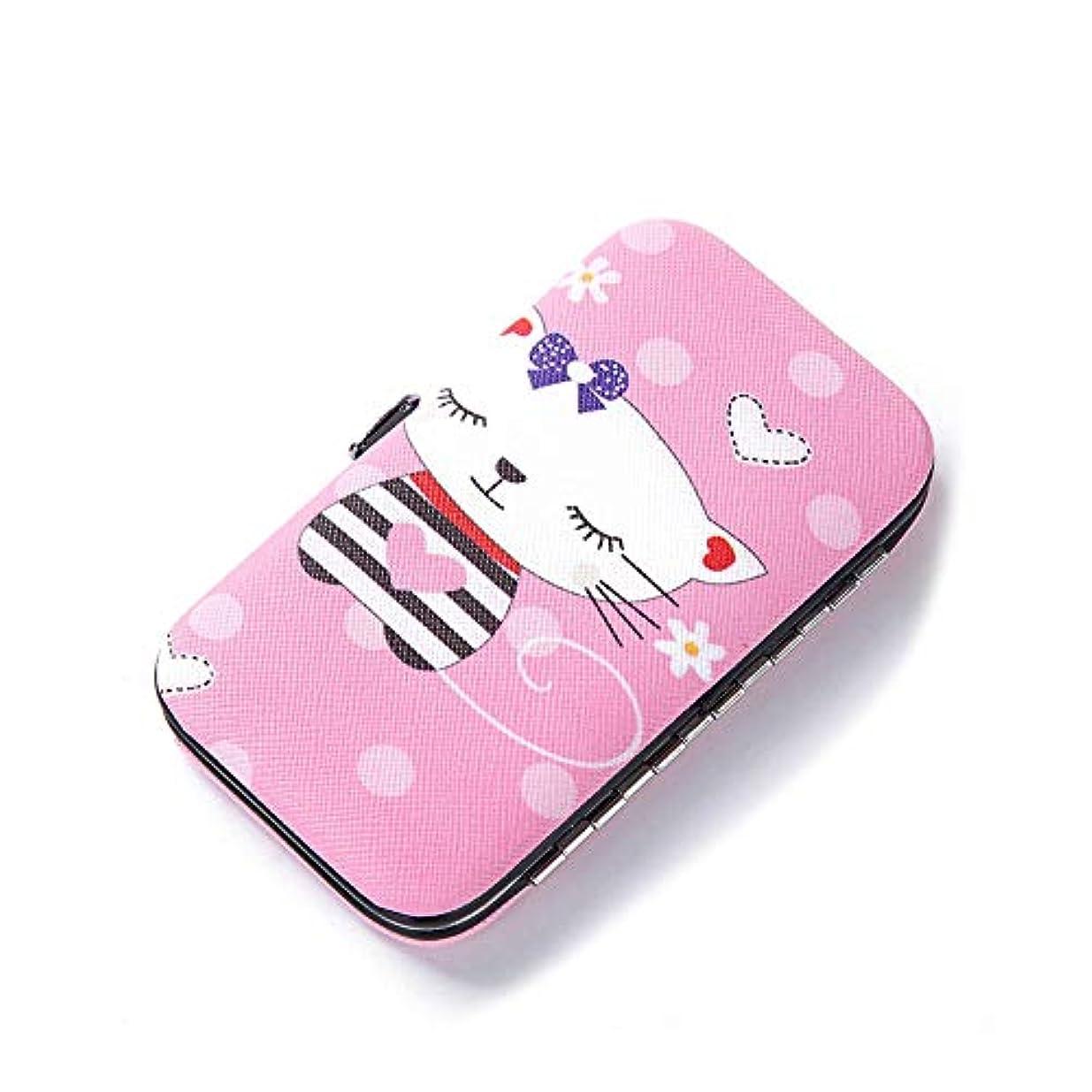 少数個人ミンチSnner ビューティセット 爪切り 爪磨き 毛抜き ハサミ 耳かき 携帯 持ち運び 旅行 キャラクター (Pink cat)
