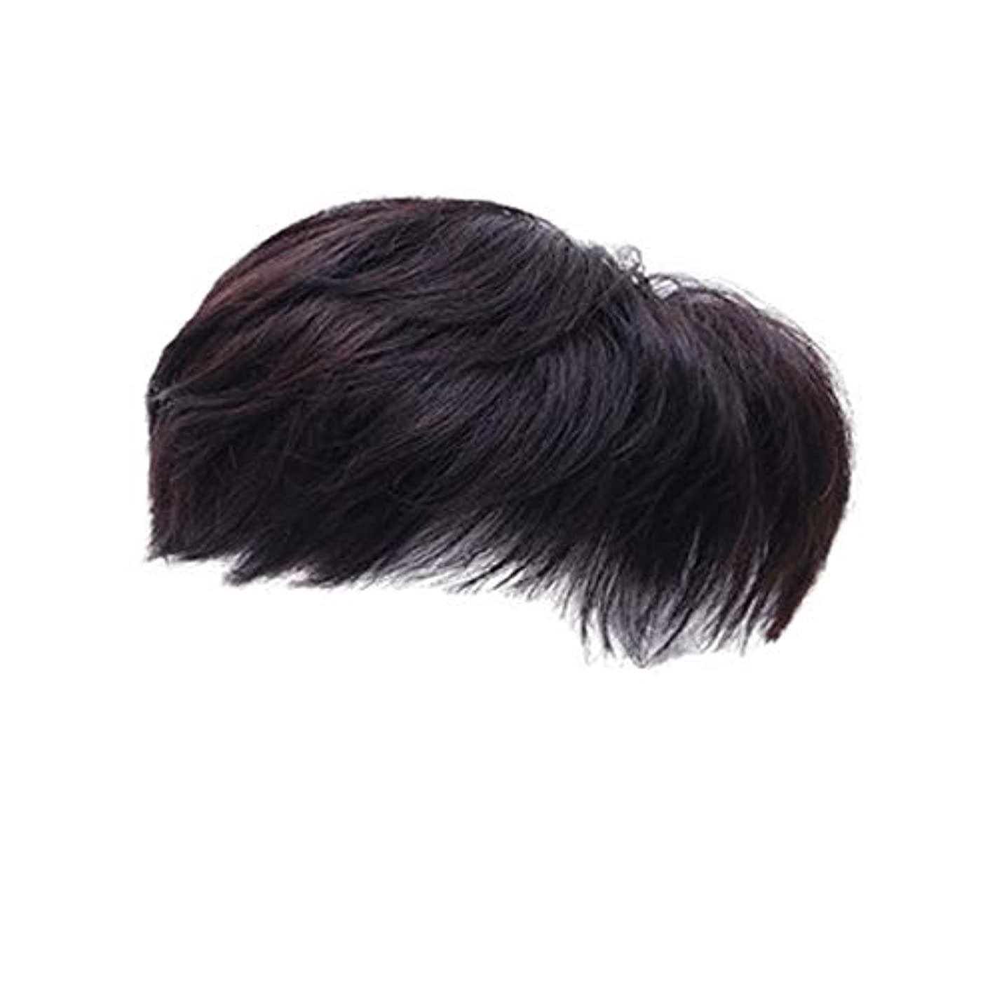 構成員コンパス掃くCN ウィッグ男性ショートヘア気質テクスチャホット髪の手織りヘッドトップの交換ワンピースメンズウィッグハンサムウィッグセット (Color : Black)
