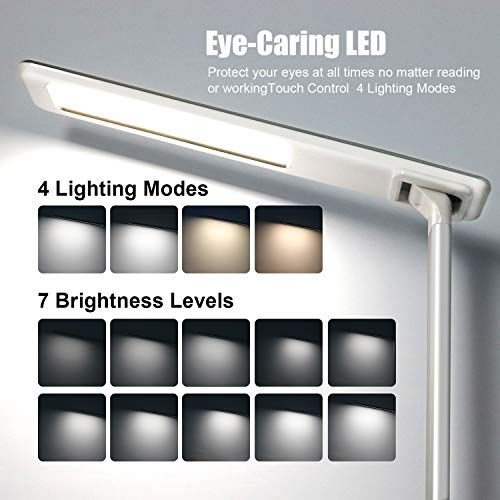NUMYTON LED Desk Lamp with Wireless & USB Charging Port by Touch Control, Eye-Caring Table Lamps, 4 Color Modes,Stepless Adjustable Brightness with Timer and Folding Bedside Table Lamp