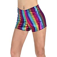 PINKPHOENIXFLY Women's Shiny Booty Shorts Rave Dance Bottoms