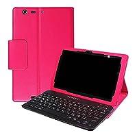 Qua tab PZ 専用 レザーケース付きキーボードケース 日本語入力対応 au Qua tab PZ LGT32SWA キーボードケース Bluetooth キーボード ワイヤレスキーボード タブレットキーボード (ローズ)