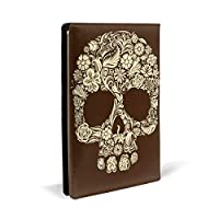 頭蓋骨 PUレザー ブックカバー A5サイズ 文庫本サイズ ブックカバー 新書サイズ 選べるイニシャル ブックカバー