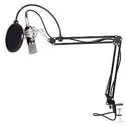 Tonor 3.5㎜ジャック コンデンサーマイク セット マイクアーム付き ポップガード付き 宅録 実況 録音 ブラック