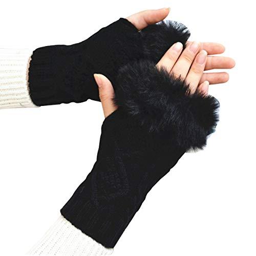 ニット 手袋 レディース 指なし アームウォーマー フェイクファー かわいい スマホ手袋 長い グローブ 防寒 冬 (シングル, ブラック)