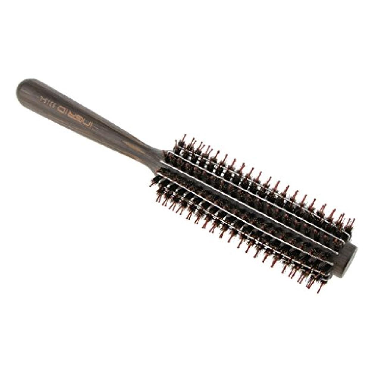 疲れた入学するチャンバーPerfk ロールブラシ ヘアブラシ カール 巻き髪  ヘアコーム 3サイズ選べる  - L