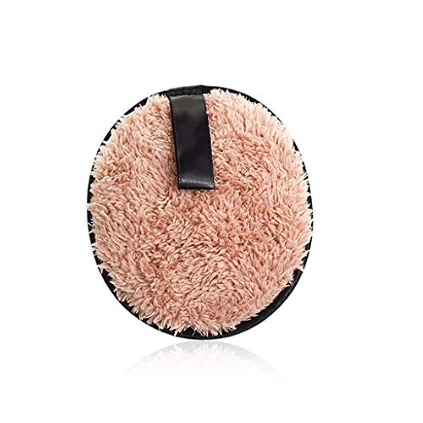 インシュレータグリーンランド耳フェイスメイクアップリムーバーソフトスポンジコットンメイクアップリムーバークロスパウダーパフ洗顔ワイプ再利用可能な洗えるパッド (Color : Light brown, サイズ : 4.7*4.7*0.7inch)